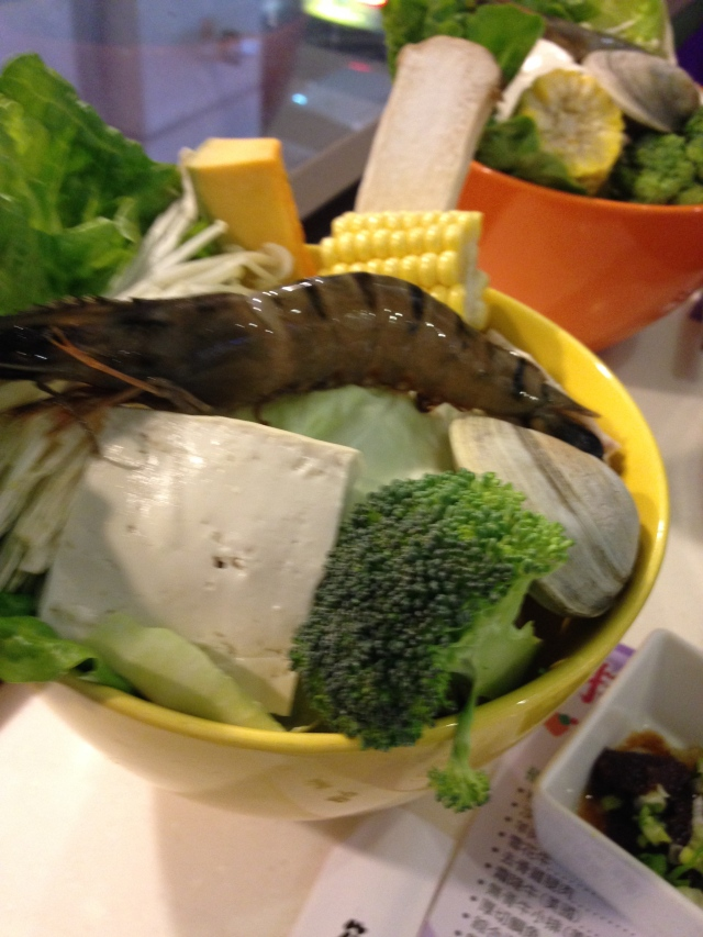 Hot pot fixings.. with a ginormous shrimp.